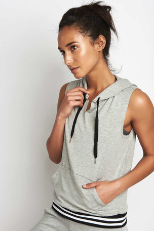 Beyond Yoga Varsity Muscle Hoodie Grey image 2 - The Sports Edit