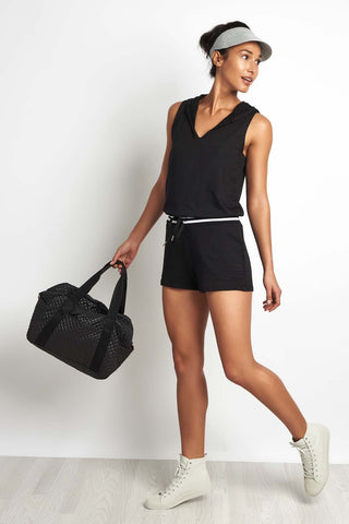 Beyond Yoga Varsity Romper Black image 1 - The Sports Edit