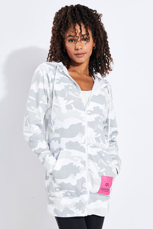 Calvin Klein Performance Long Line FZ Hoodie - White image 1 - The Sports Edit