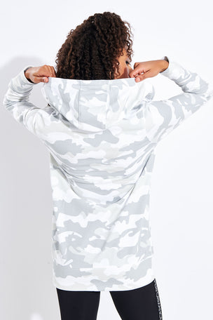 Calvin Klein Performance Long Line FZ Hoodie - White image 3 - The Sports Edit