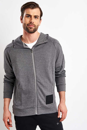 Calvin Klein Performance Zip Through Hoodie - Grey Heather image 1 - The Sports Edit