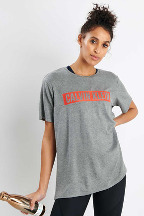 68a990b7 Calvin Klein Performance Logo T-Shirt - Medium Grey Heather image 1 - The  Sports