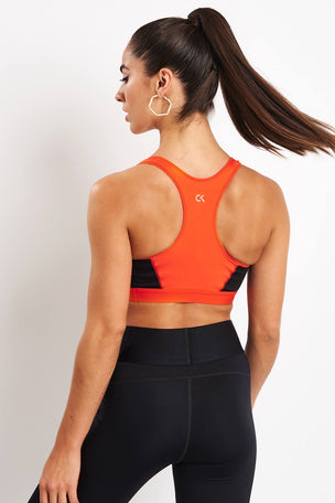 Calvin Klein Performance High Impact Racerback Sports Bra - Cherry Tomato image 2 - The Sports Edit