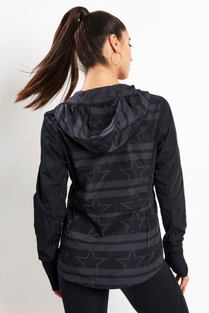 Calvin Klein Performance Wind Print Jacket - Stars Stripe CK Black image 3 - The Sports Edit