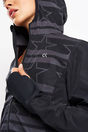 Calvin Klein Performance Wind Print Jacket - Stars Stripe CK Black image 1 - The Sports Edit