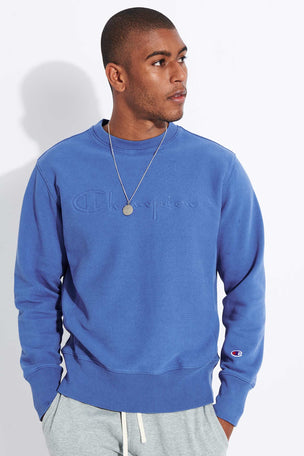 Champion Reverse Weave Embossed Script Logo Reverse Weave Sweatshirt - Blue image 1 - The Sports Edit