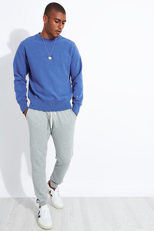 Champion Reverse Weave Embossed Script Logo Reverse Weave Sweatshirt - Blue image 2 - The Sports Edit