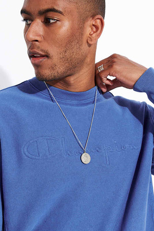 Champion Reverse Weave Embossed Script Logo Reverse Weave Sweatshirt - Blue image 4 - The Sports Edit