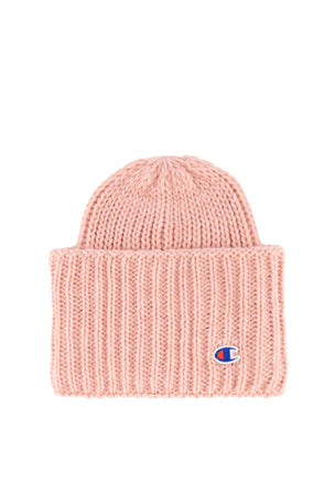Champion Reverse Weave High Fold Over Ribbed Beanie Cap - Pink image 1 - The Sports Edit