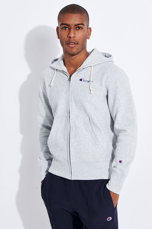 Champion Reverse Weave Zip-Up Reverse Weave Script Logo Hoodie - Grey image 1 - The Sports Edit