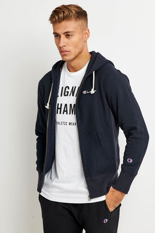 Champion Champion Zip-up Reverse Weave Script Logo Hoodie - Navy image 1 - The Sports Edit