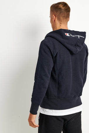 Champion Champion Zip-up Reverse Weave Script Logo Hoodie - Navy image 2 - The Sports Edit