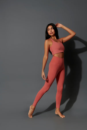 Girlfriend Collective Compressive High Waisted Legging - Clay image 5 - The Sports Edit