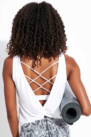 Dharma Bums Essence Twist Back Tee - White image 3 - The Sports Edit