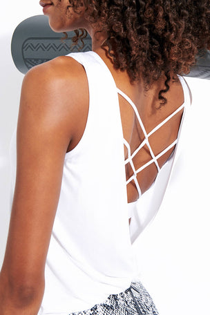 Dharma Bums Essence Twist Back Tee - White image 4 - The Sports Edit