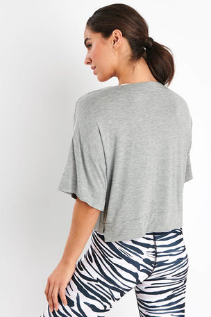 Dharma Bums Grey Marl Boxy Tee image 3 - The Sports Edit