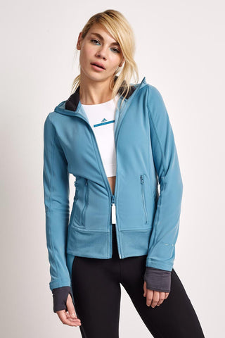 adidas X Stella McCartney Climaheat Fleece Hoodie Harbour Blue image 1 - The Sports Edit