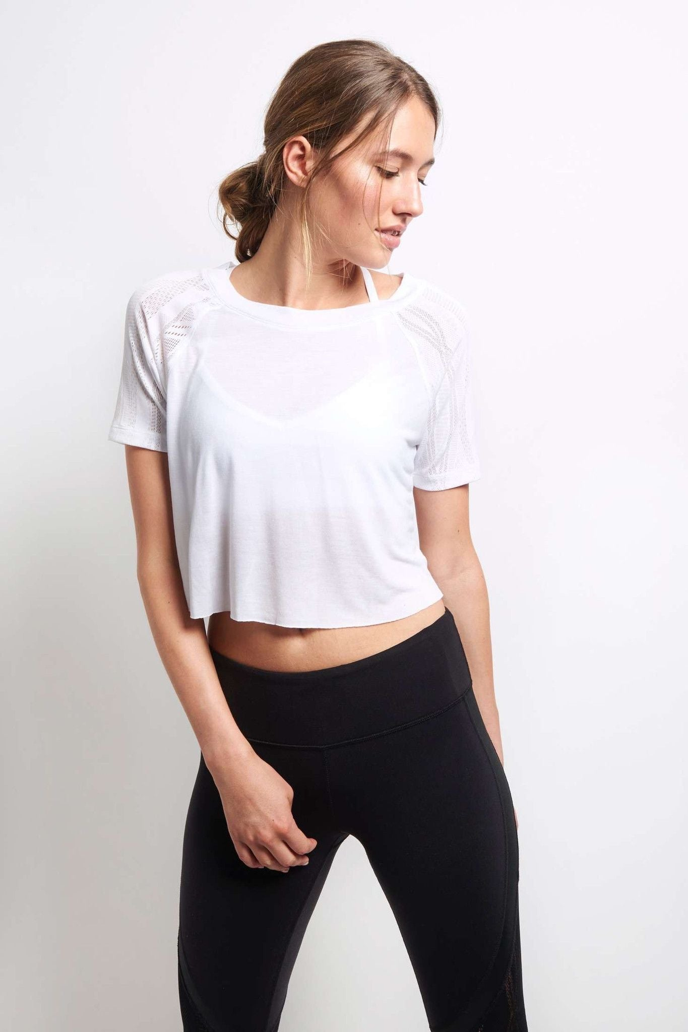 Alo Yoga Sport Short Sleeve Top - White image 2 - The Sports Edit