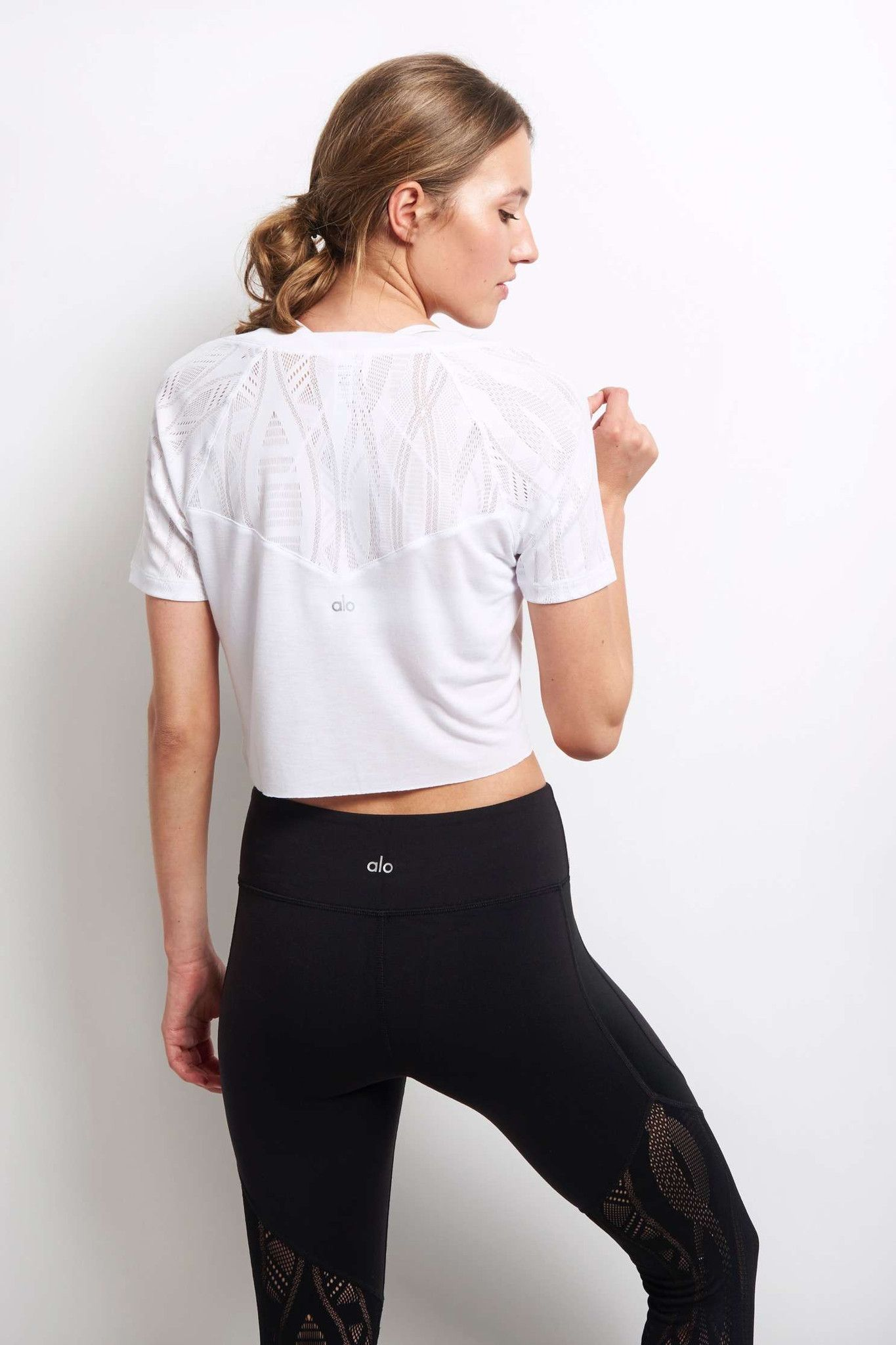 Alo Yoga Sport Short Sleeve Top - White image 3 - The Sports Edit