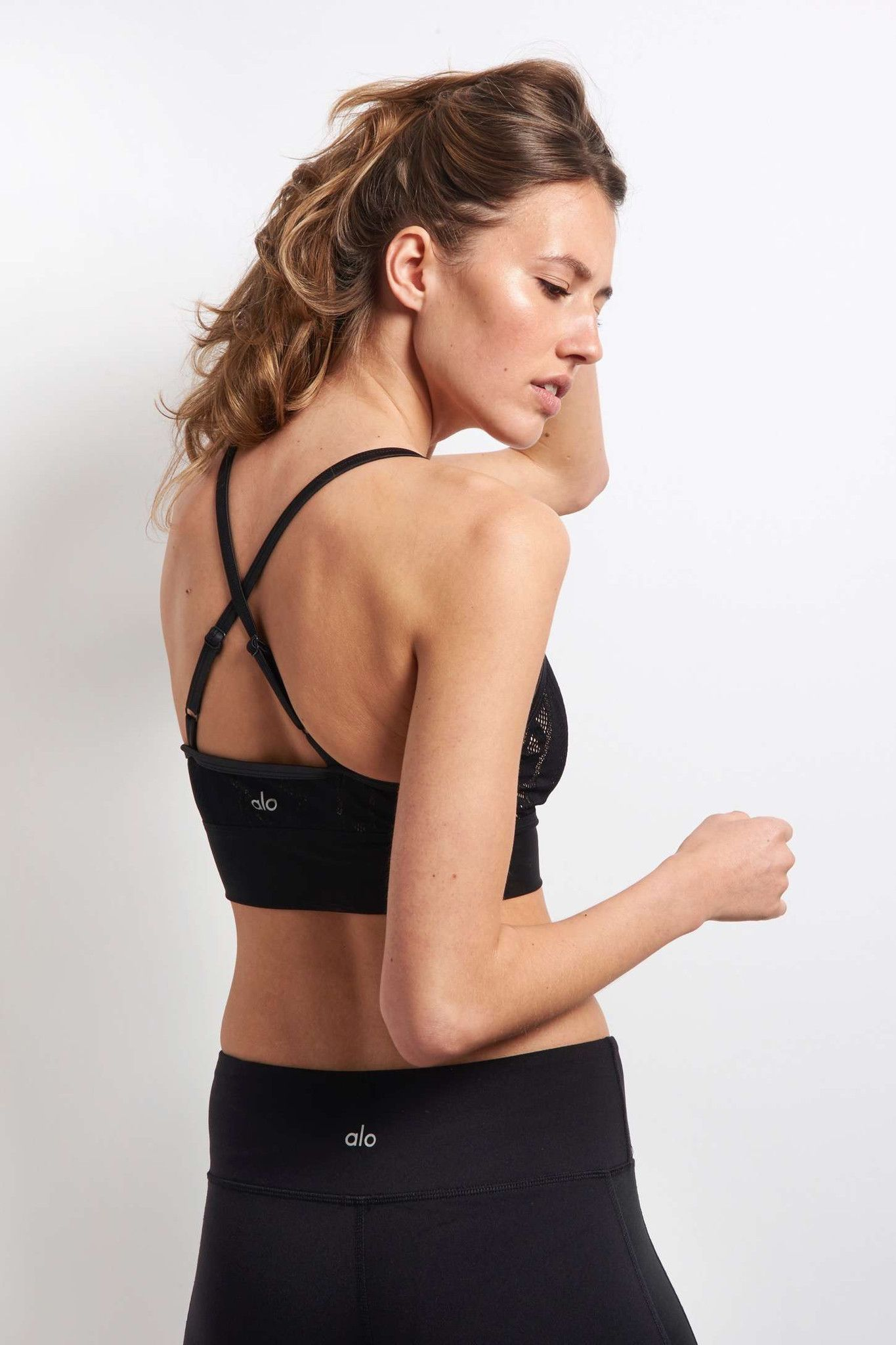Alo Yoga Aria Bra - Black/Buff image 4 - The Sports Edit