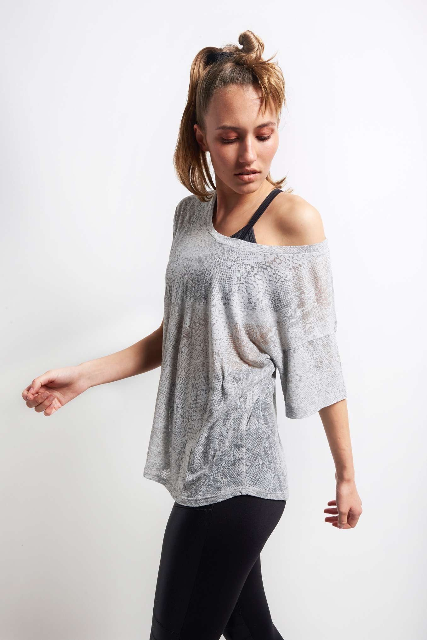 Blue Life Fit Side Slit Best Bum Tee - Grey Snake image 1 - The Sports Edit