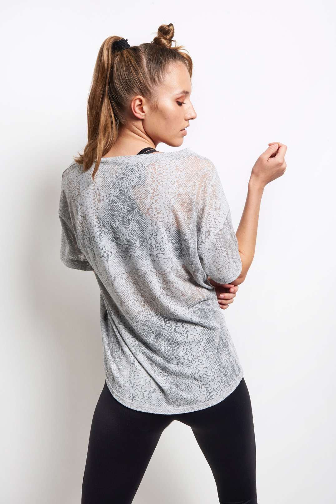 Blue Life Fit Side Slit Best Bum Tee - Grey Snake image 2 - The Sports Edit
