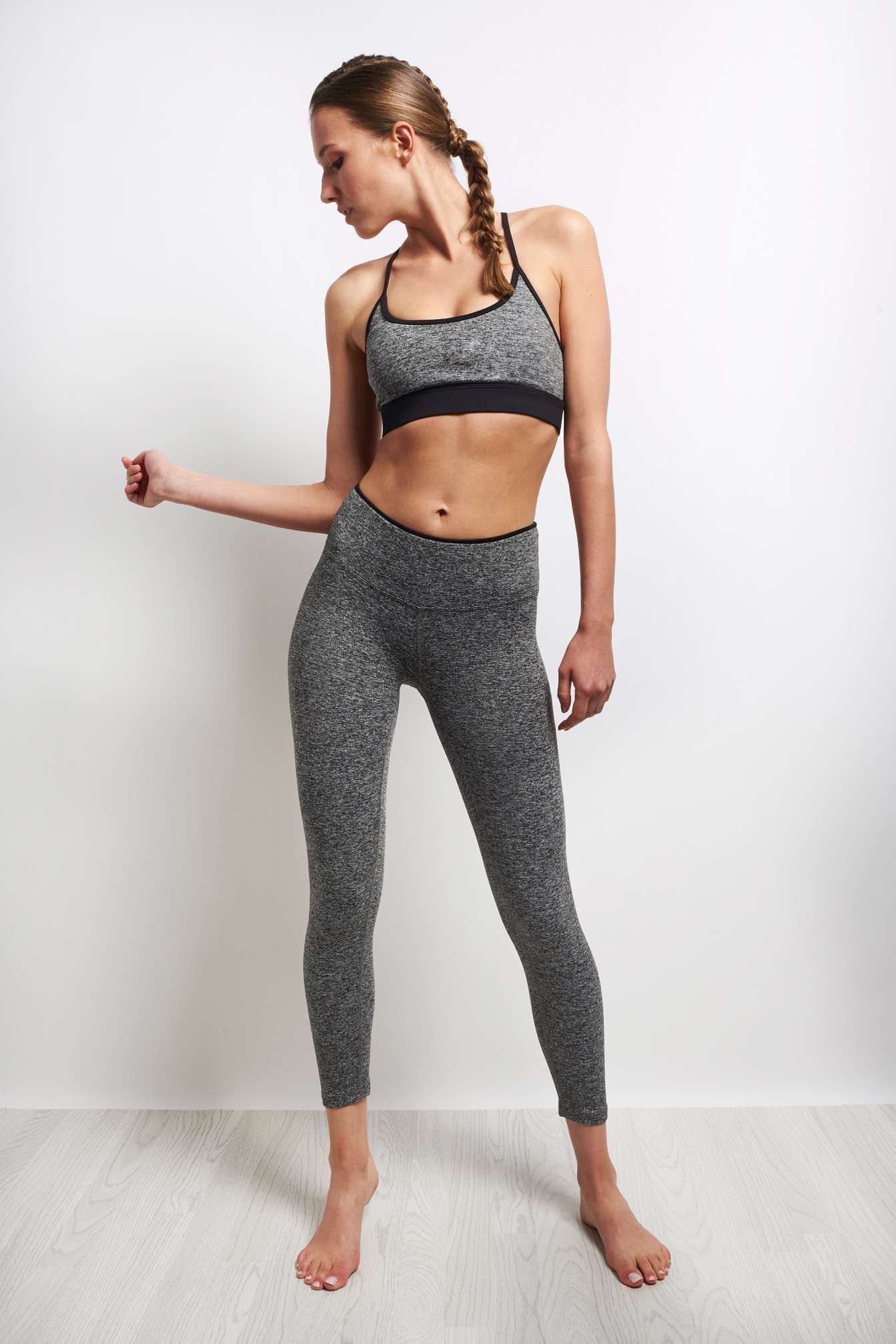 Koral Lucent Sports Bra - Heather Grey/Black image 4 - The Sports Edit