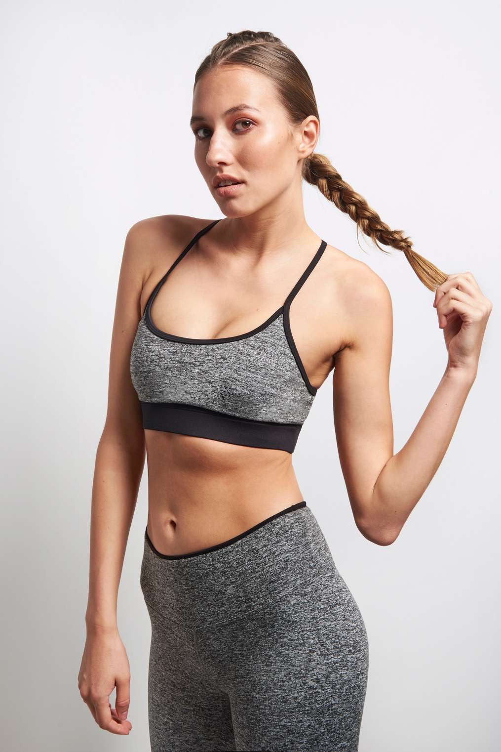 Koral Lucent Sports Bra - Heather Grey/Black image 1 - The Sports Edit