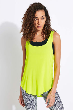 Onzie Glossy Flow Tank Top - Neon Yellow image 1 - The Sports Edit