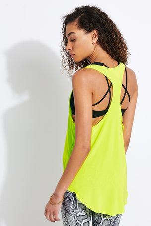 Onzie Glossy Flow Tank Top - Neon Yellow image 3 - The Sports Edit