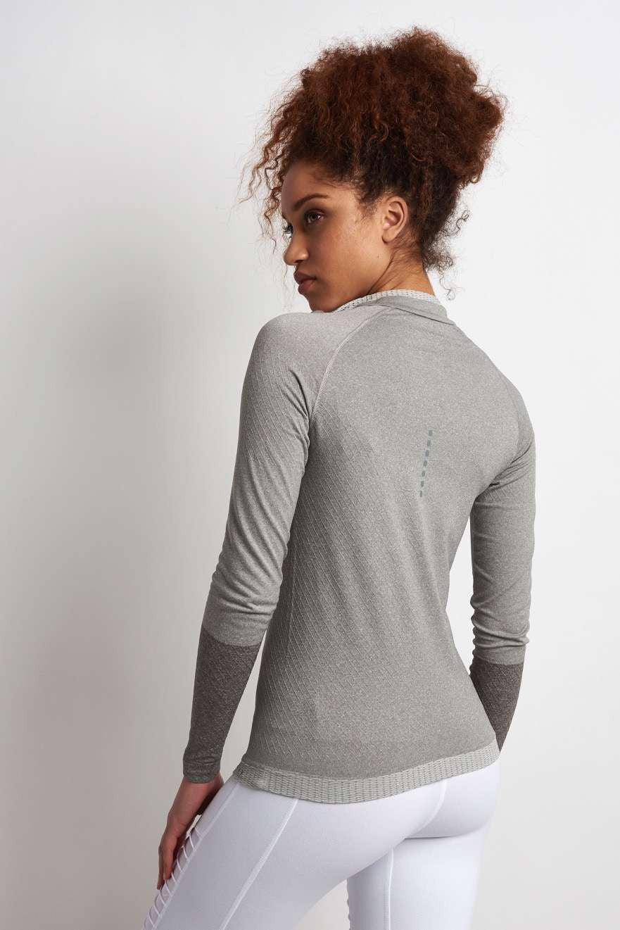 Falke Full Zip Long-Sleeved Top - Grey Melange image 2 - The Sports Edit