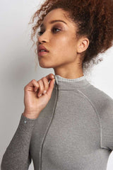 Falke Full Zip Long-Sleeved Top - Grey Melange image 3 - The Sports Edit