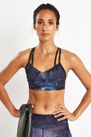 Reebok Hero Strappy Oil Slick Padded Bra - Black image 5 - The Sports Edit