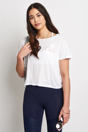 good hYOUman The Payton Crop Tee - Life Is A Party! image 1 - The Sports Edit