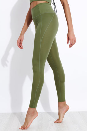Girlfriend Collective Compressive High Waisted Legging - Olive image 1 - The Sports Edit
