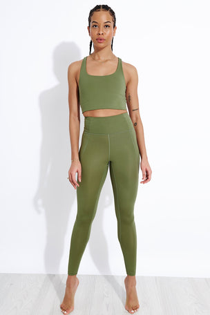 Girlfriend Collective Compressive High Waisted Legging - Olive image 2 - The Sports Edit