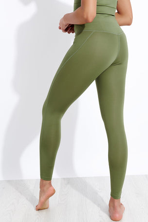 Girlfriend Collective Compressive High Waisted Legging - Olive image 3 - The Sports Edit