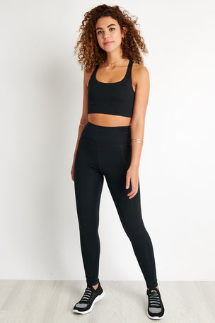 Girlfriend Collective Paloma Bra Cropped - Black image 2 - The Sports Edit