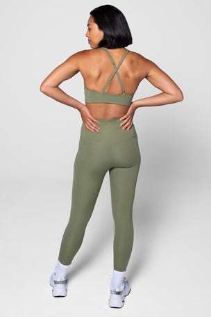 Girlfriend Collective Compressive High Waisted 7/8 Legging - Olive image 2 - The Sports Edit