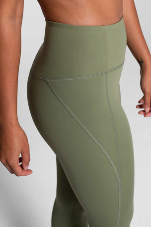 Girlfriend Collective Compressive High Waisted 7/8 Legging - Olive image 3 - The Sports Edit