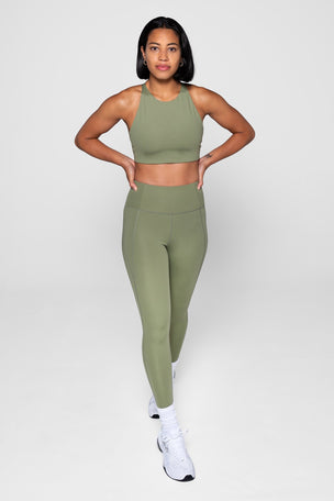 Girlfriend Collective Compressive High Waisted 7/8 Legging - Olive image 4 - The Sports Edit