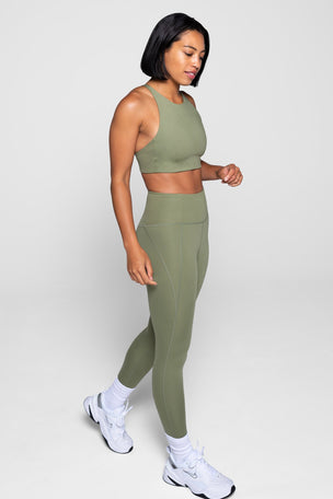 Girlfriend Collective Compressive High Waisted 7/8 Legging - Olive image 5 - The Sports Edit