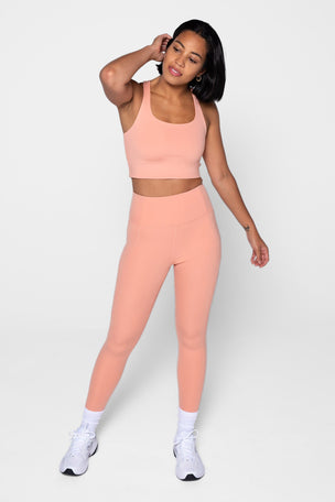 Girlfriend Collective Compressive High Waisted 7/8 Legging - Sherbert image 6 - The Sports Edit