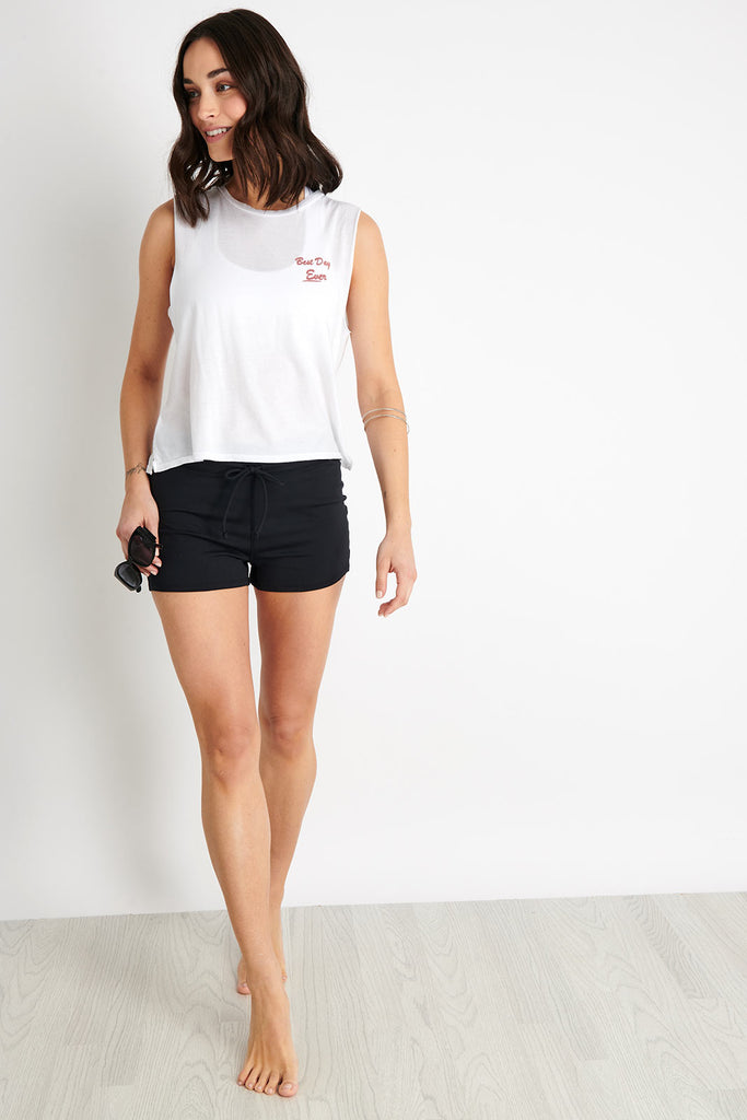 52f6269dc3906 GOOD HYOUMAN The Lili Crop Muscle Tank Best Day Ever - White image 3 - The