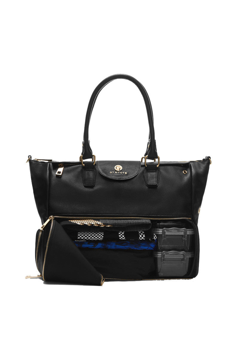 GymTote Reese Nappa Leather - Black image 3 - The Sports Edit
