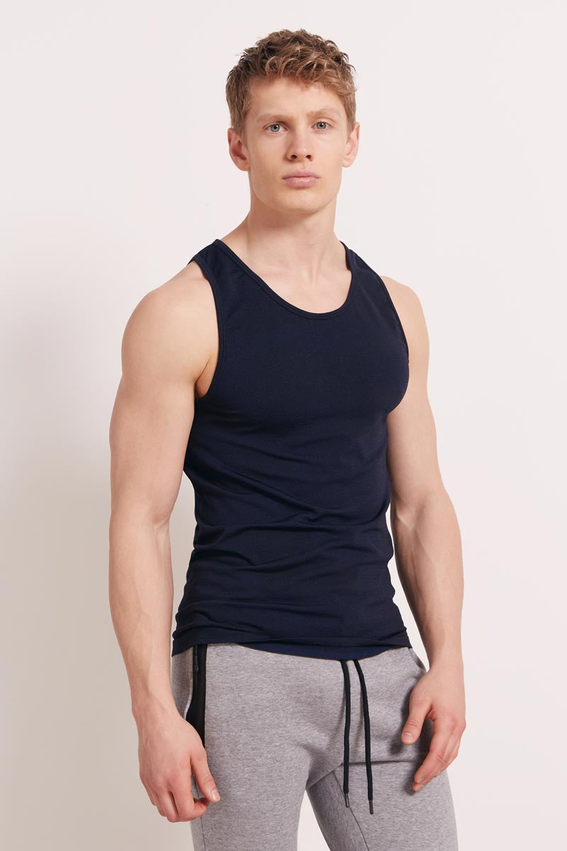 HPE Cross X Seamless Camo Tank - Navy image 1 - The Sports Edit