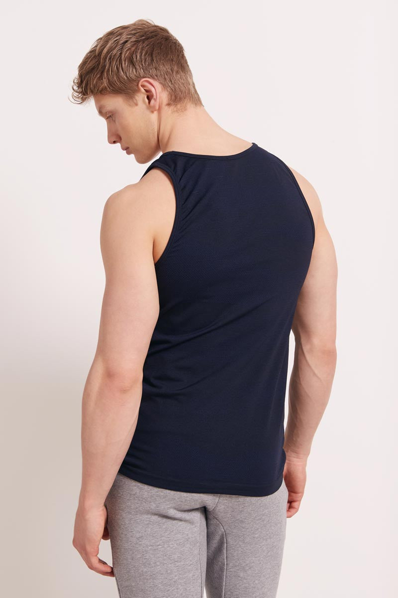 HPE Cross X Seamless Camo Tank - Navy image 2 - The Sports Edit