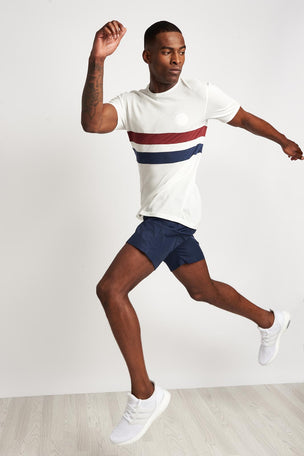 Iffley Road Cambrian Tee Stripe White/Maple/Navy image 4 - The Sports Edit