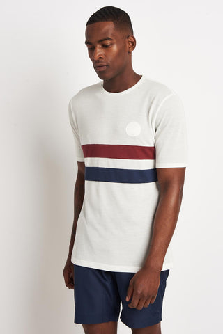 Iffley Road Cambrian Tee Stripe White/Maple/Navy image 1 - The Sports Edit