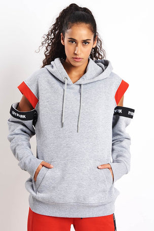 Ivy Park Asymmetric Tape Logo Hoodie - Black image 1 - The Sports Edit